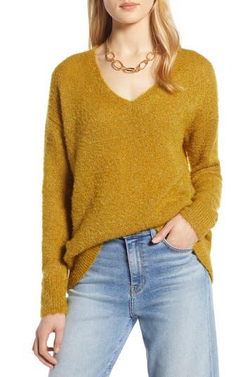 Halogen® Fuzzy V-Neck Sweater