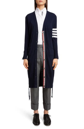 Thom Browne 4-Bar Cashmere Long Cardigan