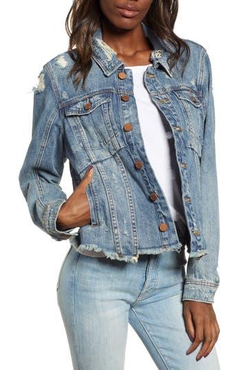 BLANKNYC Distressed Raw Hem Denim Jacket