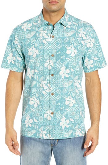 Tommy Bahama Tahitian Tiles Classic Fit Silk Blend Camp Shirt