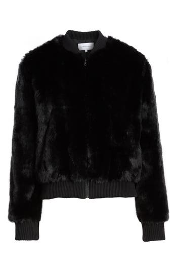 cupcakes and cashmere Amy Faux Fur Bomber Jacket