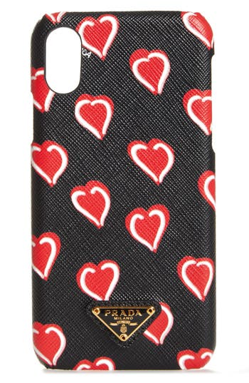 Prada Heart Saffiano Leather iPhone X case