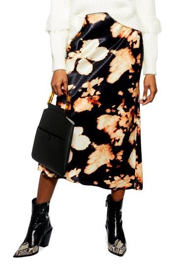 Topshop Tie Dye Bias Midi Skirt