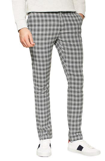 Topman Check Stretch Skinny Fit Trousers