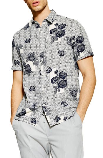 Topman Rose Tile Print Slim Fit Shirt