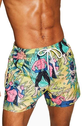 Topman Wrestler Print Swim Trunks