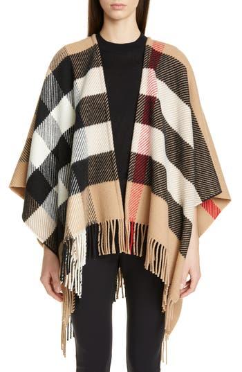 Burberry Mega Check Wool & Cashmere Cape