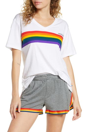 ROOM SERVICE Love Wins Rainbow Stripe Tee (Unisex) (Nordstrom Exclusive)
