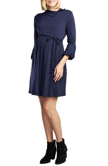 Maternal America Lantern Sleeve Maternity Dress, Blue