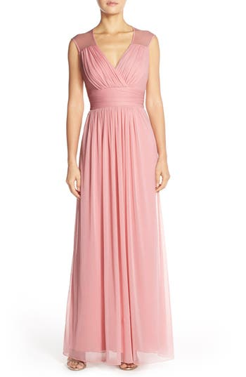 Alfred Sung Shirred Chiffon Cap Sleeve Gown, Pink