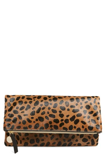 Clare V. Genuine Calf Hair Leopard Print Foldover Clutch -