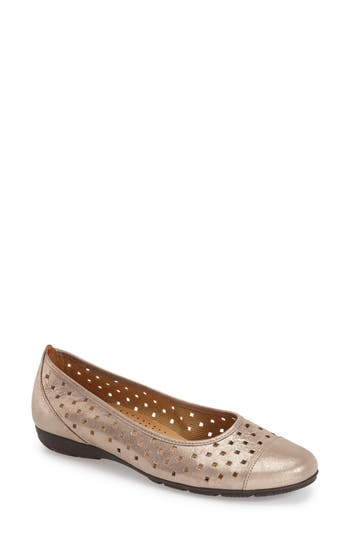 Gabor Perforated Ballet Flat- Metallic