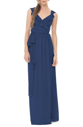 Women's Ceremony By Joanna August 'Lacey' Ruffle Wrap Chiffon Gown, Size Small - Blue
