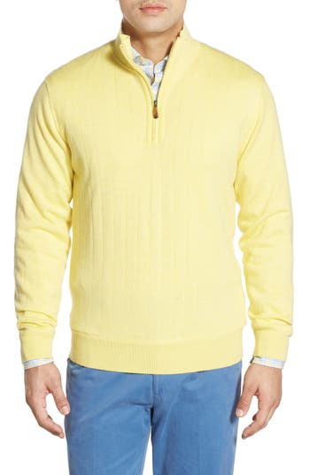 Bobby Jones Windproof Merino Wool Quarter Zip Sweater, Yellow