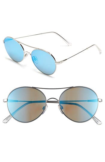Women's Electric 'Huxley' 53Mm Round Sunglasses - Platinum/ Grey Blue Chrome