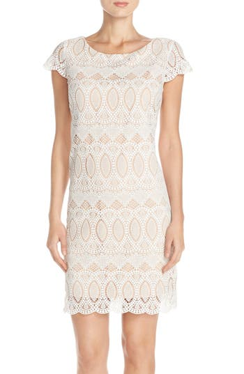 Eliza J Scalloped Lace Sheath Dress, Ivory