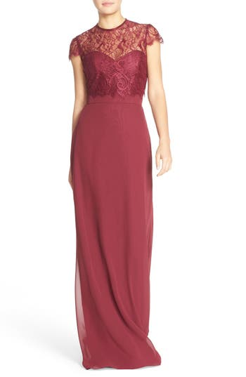 Hayley Paige Occasions Strapless Chiffon A-Line Gown With Removable Lace Overlay