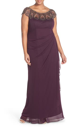 Plus Size Xscape Beaded Neck Empire Gown