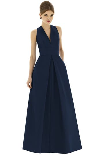 Alfred Sung Dupioni A-Line Gown, Blue