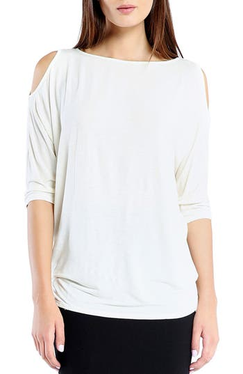 Michael Stars Cold Shoulder Tee, Size One Size - White