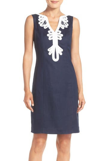 Eliza J Embroidered Neck Sheath Dress, Blue
