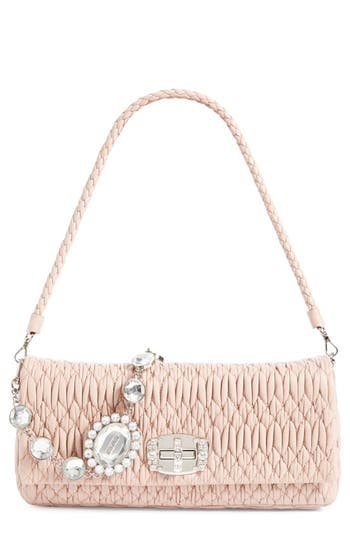 Miu Miu Medium Swarovski Crystal Chain Leather Shoulder Bag - at NORDSTROM.com