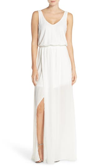 Show Me Your Mumu Kendall Soft V-Back A-Line Gown, Beige