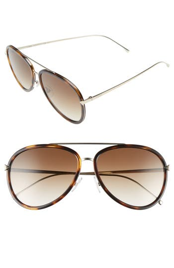 Women's Fendi 57Mm Aviator Sunglasses - Havana/ Gold