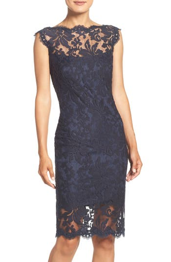 Tadashi Shoji Embroidered Lace Sheath Dress, Blue