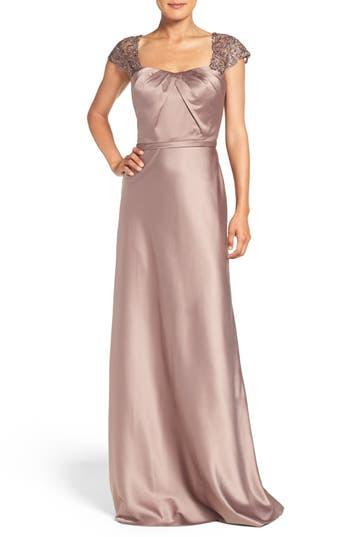 La Femme Embellished Lace & Satin Gown