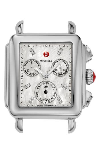 MICHELE Deco Diamond Dial Watch Case, 33mm x 35mm