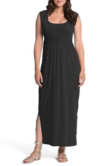 Bun Maternity Cross Top Maternity/nursing Maxi Dress, Black