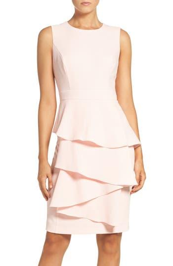 Eliza J Ella Cascade Crepe Sheath Dress, Pink
