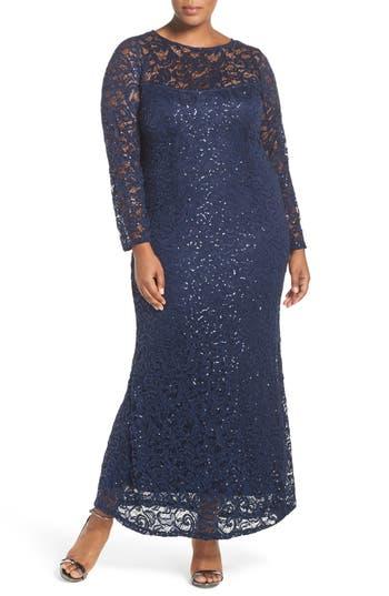Plus Size Marina Illusion Yoke & Long Sleeve Lace Gown, Blue
