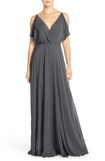 Jenny Yoo Cassie Flutter Sleeve Chiffon A-Line Gown, Grey
