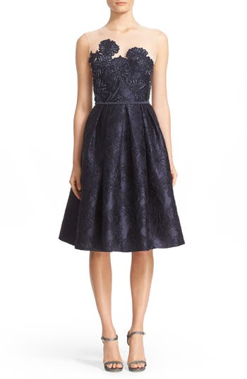 Carmen Marc Valvo Couture Illusion Yoke Embroidered Jacquard Cocktail Dress, Blue