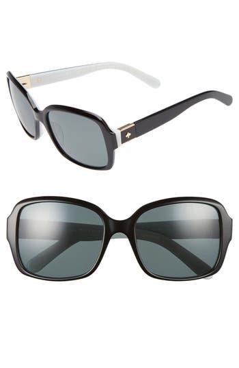 Women's Kate Spade New York Annor 54Mm Polarized Sunglasses - Black/ White