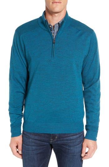 Big & Tall Cutter & Buck Douglas Quarter Zip Wool Blend Sweater, Blue