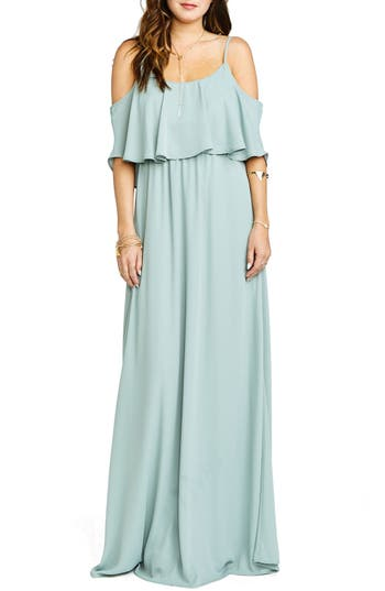 Show Me Your Mumu Caitlin Cold Shoulder Chiffon Gown, Grey