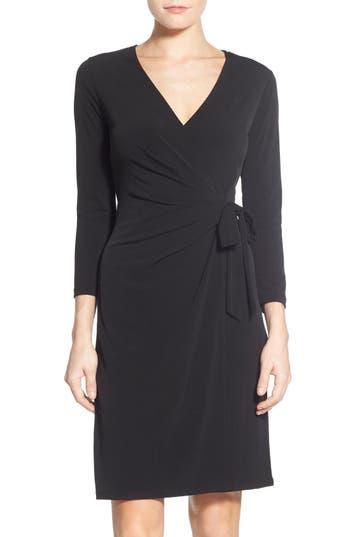 Women's Anne Klein Jersey Faux Wrap Dress, Size 2 - Black
