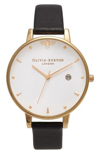 Women's Olivia Burton Queen Bee Leather Strap Watch, 38Mm
