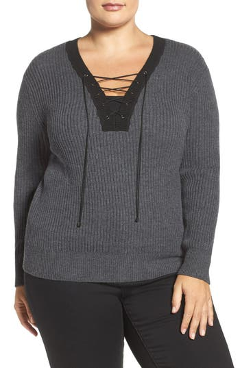 Plus Size Tart Amity Lace-Up Merino Sweater