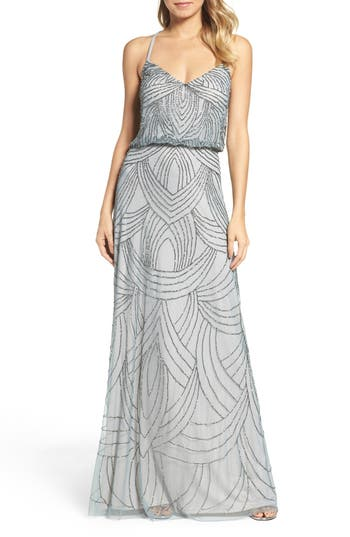 Adrianna Papell Beaded Chiffon Blouson Gown, Blue