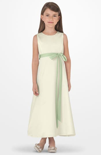 Girls Us Angels Sleeveless Satin Dress Size 6  Green
