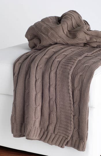 Rizzy Home Cable Knit Cotton Throw, Size One Size - Brown