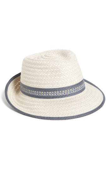 Women's Eric Javits Squishee Straw Fedora - White at NORDSTROM.com