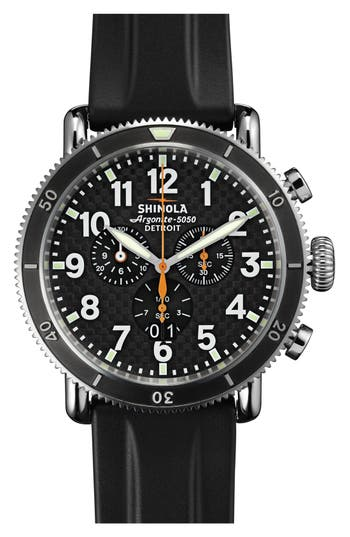Shinola 'The Runwell' Chronograph Rubber Strap Watch, 48mm