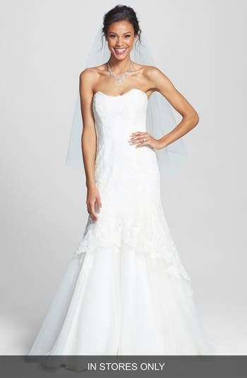 Bliss Monique Lhuillier Lace Overlay Tulle Trumpet Wedding Dress