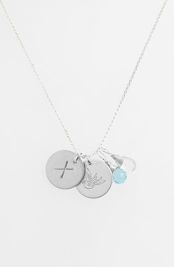 Women's Nashelle Ocean Blue & Crystal Swallow Sterling Silver Initial Disc Necklace