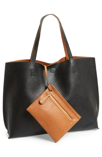 Street Level Reversible Faux Leather Tote & Wristlet -